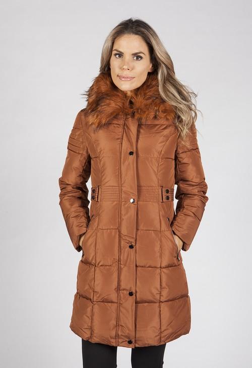 Pamela Scott Light Brown Belted Coat with Detachable Faux Fur Collar