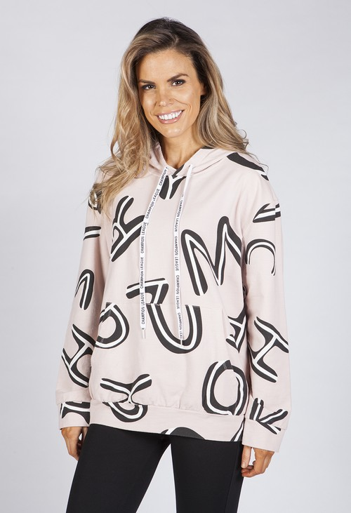 Pamela Scott Dusty Pink Letter Print Jumper