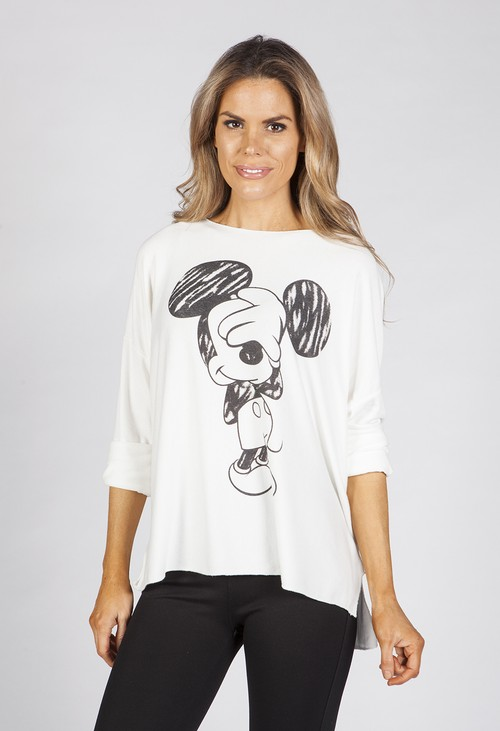 Zapara White Mickey Mouse Top