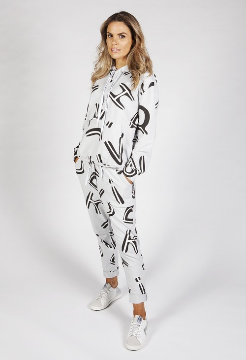 Pamela Scott Light Grey Two Piece Letter Print Jogger Set