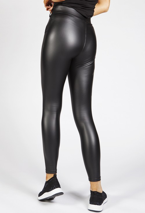 Pamela Scott Black Faux Leather Leggings with Gold Button Detailing