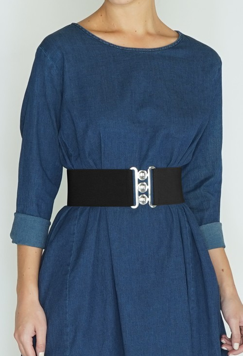 Pamela Scott Black Classic Clasp Belt