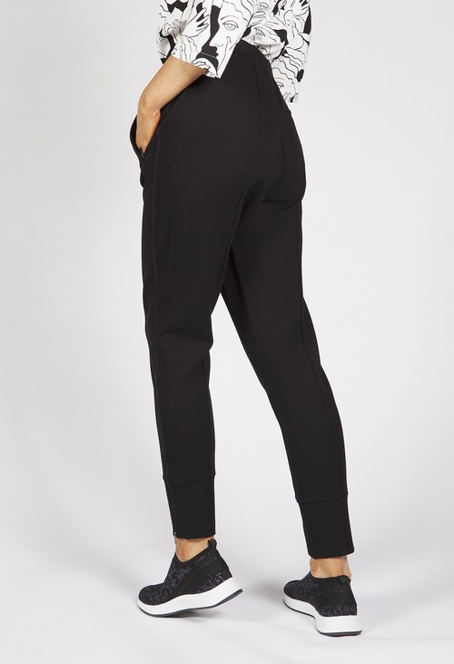 Opus Edigna Zip Black Trousers