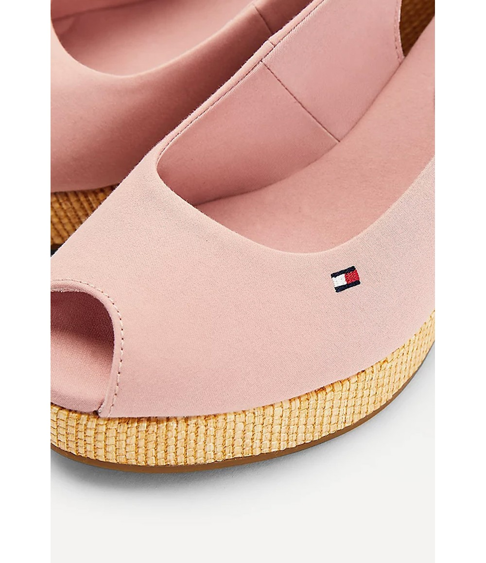 Tommy Hilfiger Soothing Pink Iconic Open Toe Sling Back Wedge Heel