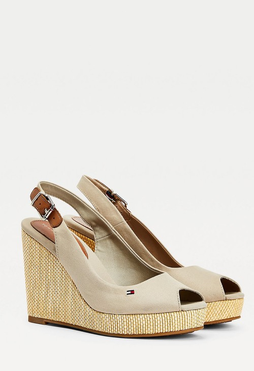 Tommy Hilfiger Stone Iconic High Wedge Sling Back Sandal