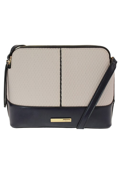 Dice Navy and Beige Weaved Cross Body Bag