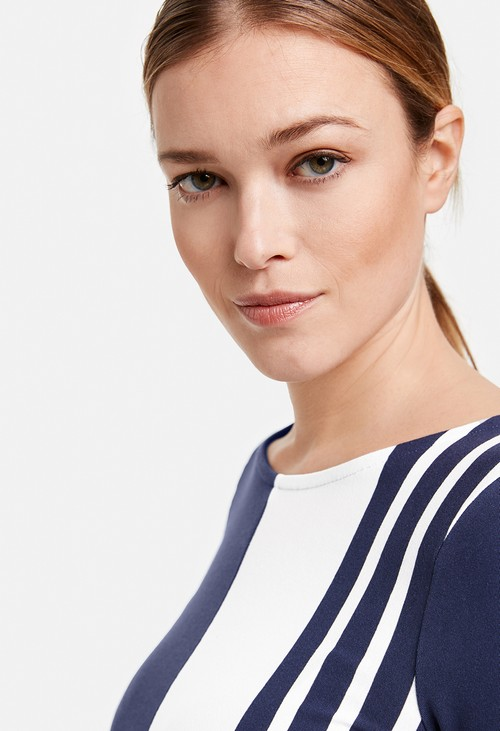 Gerry Weber Navy and White Panelled Cotton Top