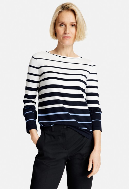 Gerry Weber White and Navy Striped Jumper