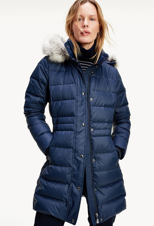 Tommy Hilfiger ESSENTIAL DOWN-FILLED FAUX FUR TRIM COAT