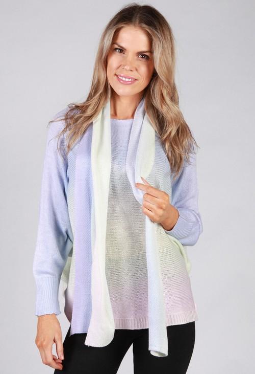 Pamela Scott Rainbow Knit Top with Scarf