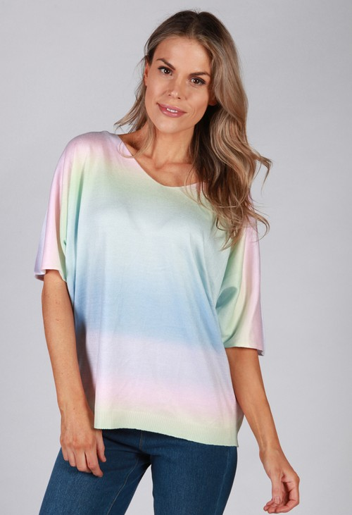 Pamela Scott Soft Rainbow Knit Batwing Top