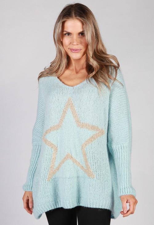 Pamela Scott Sky Blue Star Knit Jumper