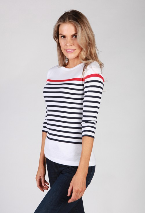 Twist White and Navy Striped Top