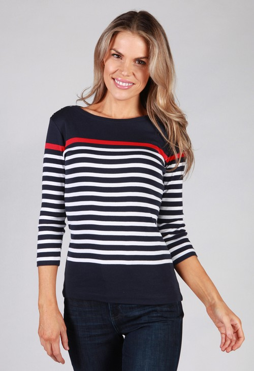 Twist Navy Striped Top