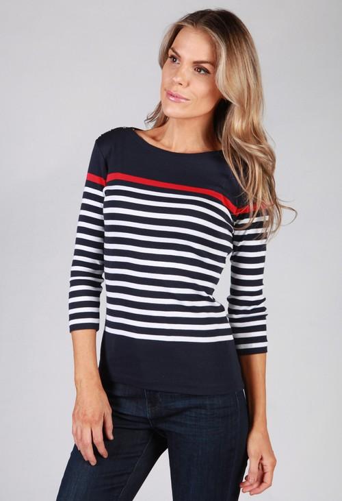 Twist Navy Striped Top