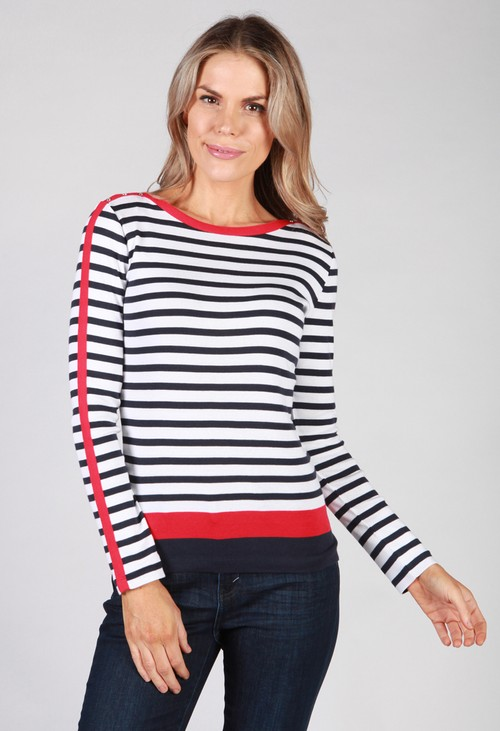 Twist White Top with Navy Stripes