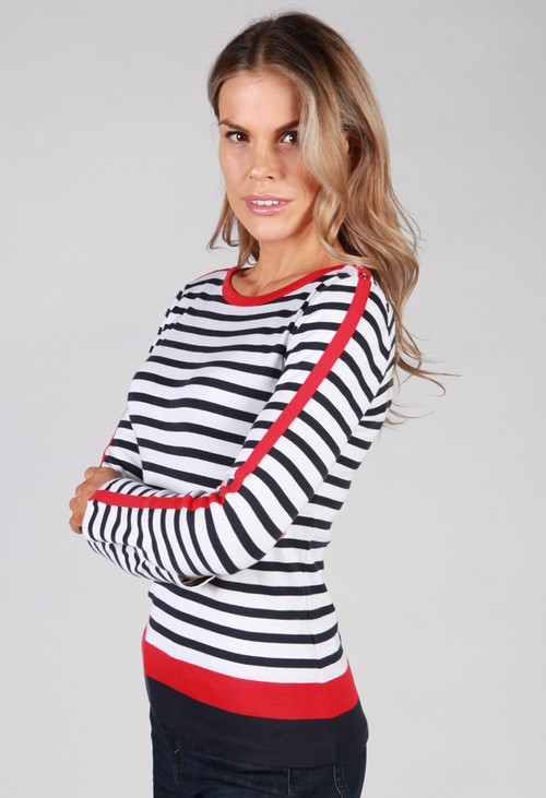 Twist White Top with Navy Stripes