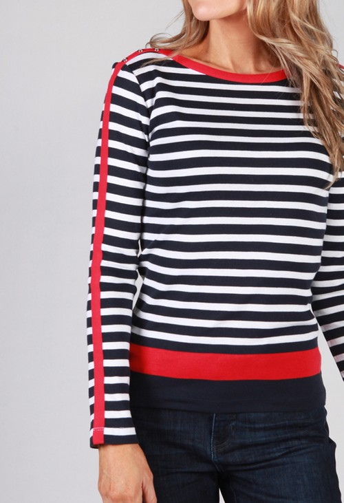 Twist Navy Top with White Stripes