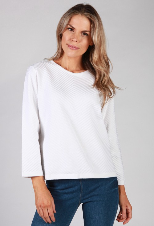 Twist White Chevron Knit Top