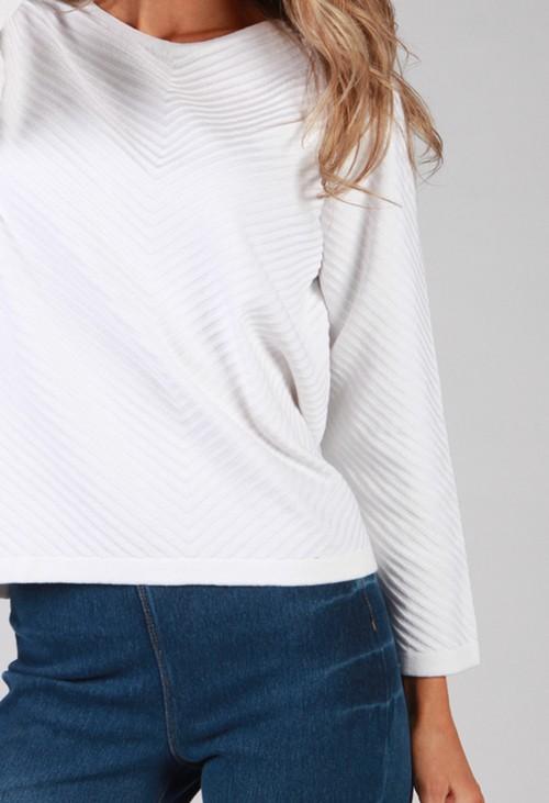 Twist White Chevron Knit Top