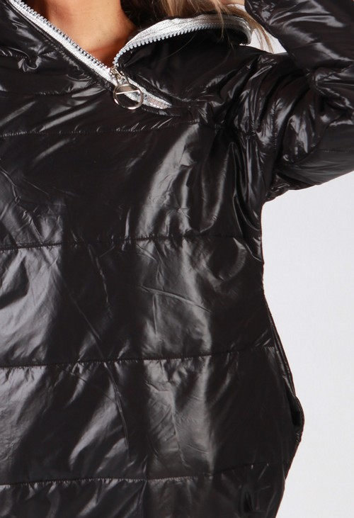 Zapara Black Zip Neck Hooded Jacket