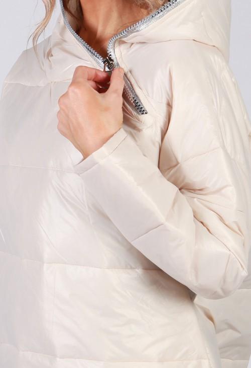 Zapara Beige Zip Neck Hooded Jacket