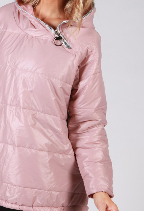 Zapara Dusty Pink Zip Neck Hooded Jacket