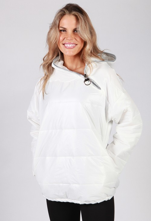 Zapara White Zip Neck Hooded Jacket