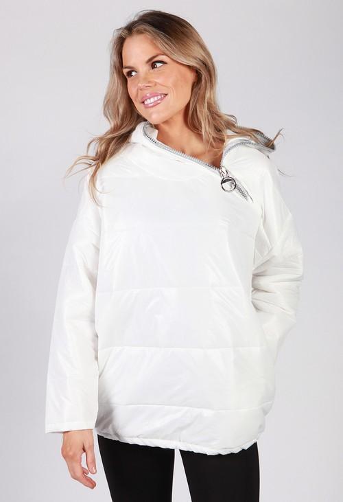Zapara White Zip Neck Hooded Jacket