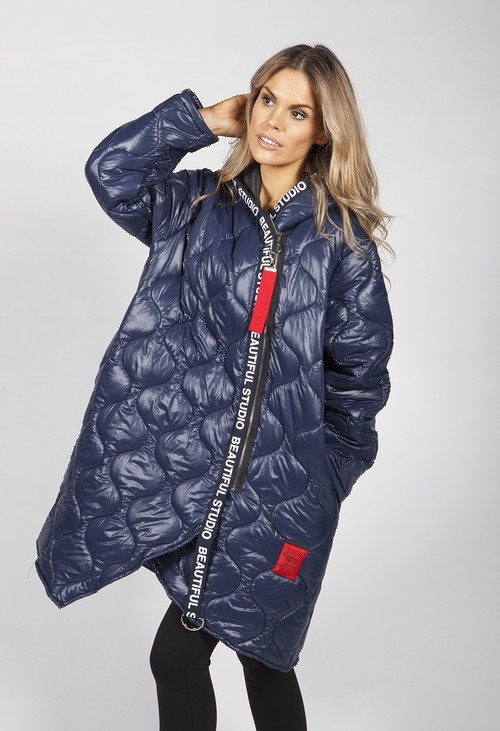 Zapara Navy Quilted Coat with Red Toggle