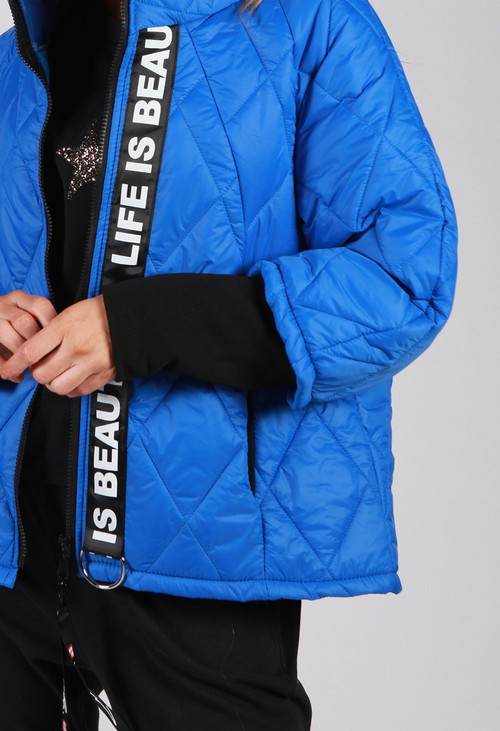 Zapara Royal Blue Quilted Jacket