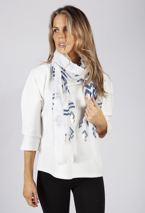 PS Accessories White and Blue Geometric Printed Scarf