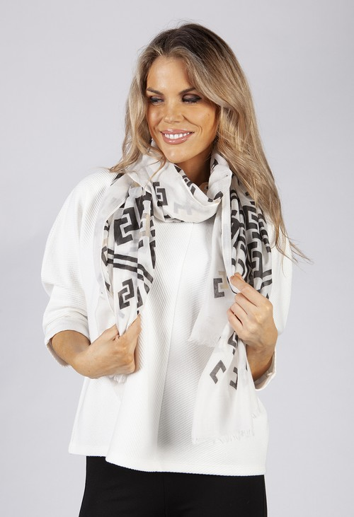 PS Accessories White and Black Geometric Printed Scarf