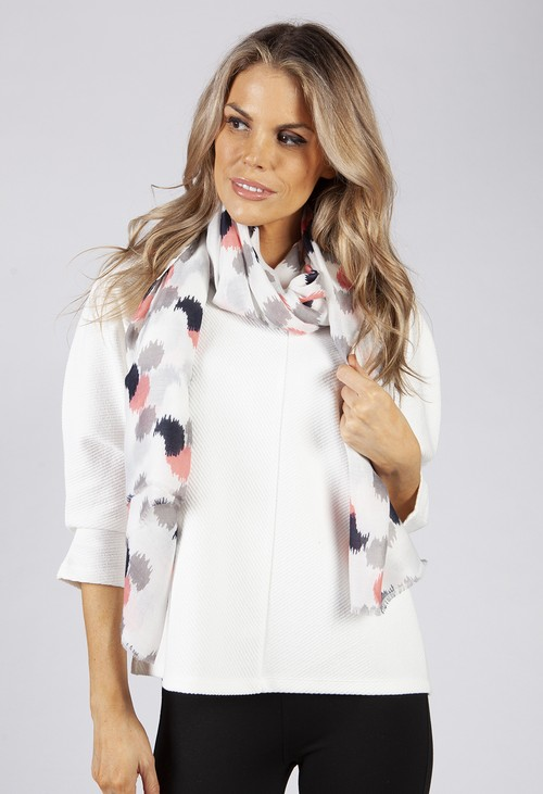 PS Accessories Off White Abstract Spot Print Scarf