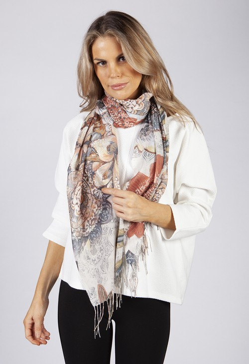 PS Accessories Beige Antique Floral Print Scarf