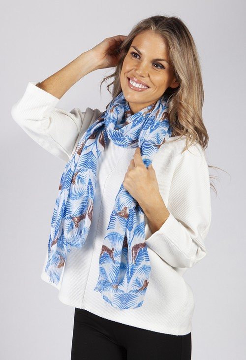 PS Accessories Blue Tiger Print Scarf