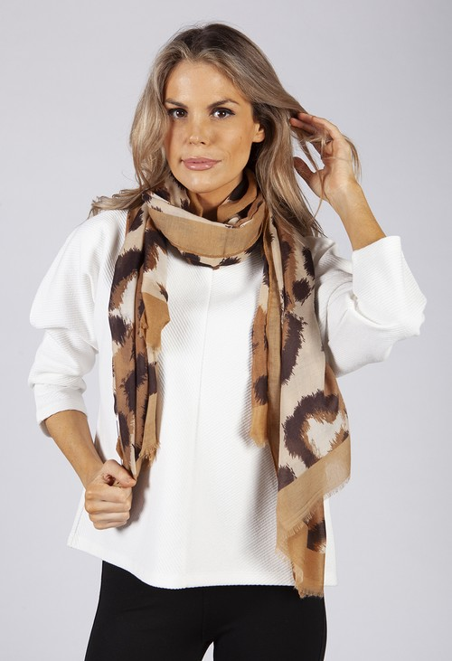 PS Accessories Golden Brown Animal Print Scarf