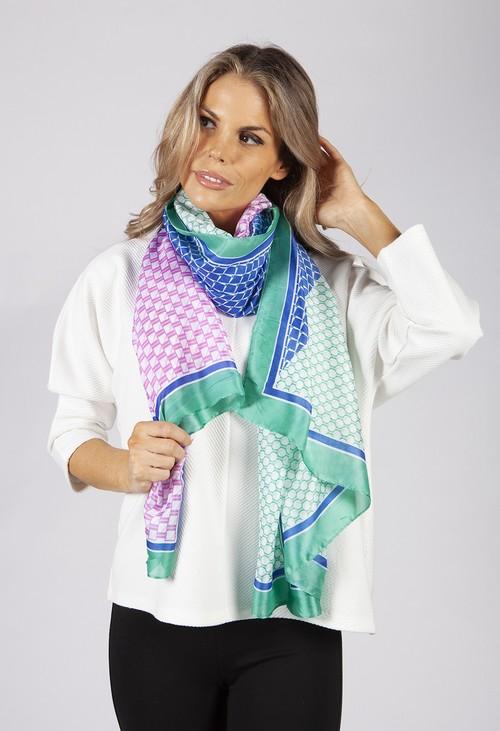 Pamela Scott Green and Blue Geometric Printed Silk Feel Scarf