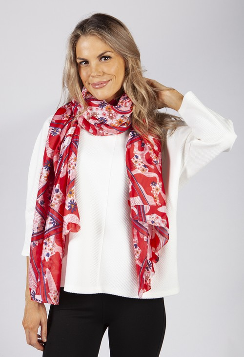 PS Accessories Red Flower Print Scarf