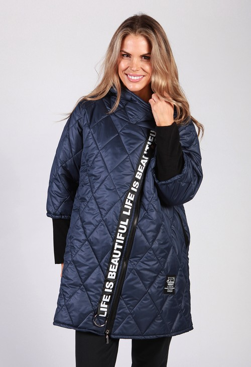 Zapara Navy Quilted Logo Strap Coat