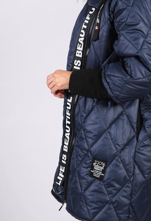 Zapara Navy Quilted Logo Strap Coat
