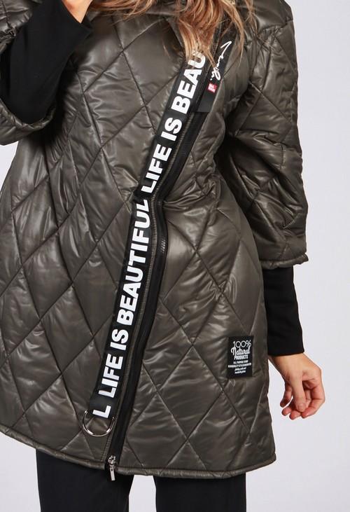 Zapara Khaki Quilted Logo Strap Coat