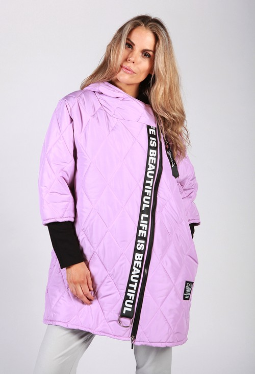 Zapara Lilac Quilted Logo Strap Coat