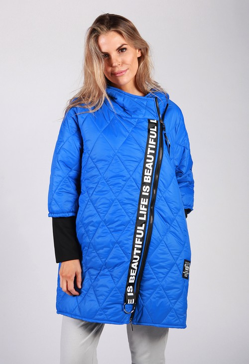 Zapara Royal Blue Quilted Logo Strap Coat