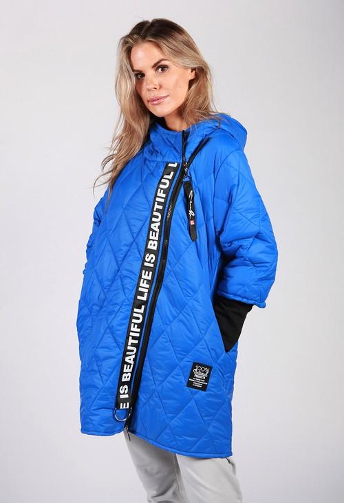 Zapara Royal Blue Quilted Logo Strap Coat