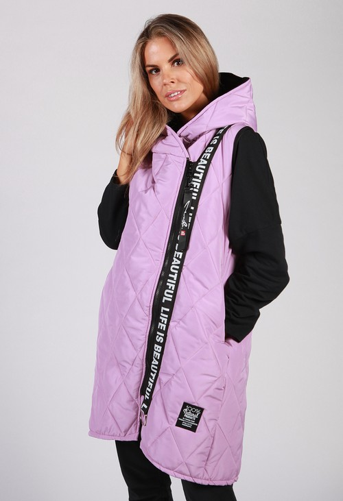 Zapara Lilac Quilted Logo Strap Gilet