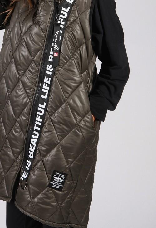 Zapara *Pre-Order* Khaki Quilted Logo Strap Gilet