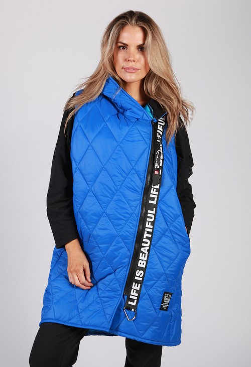 Zapara Royal Blue Quilted Logo Strap Gilet