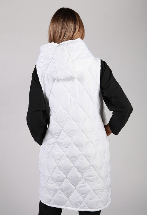 Zapara *Pre-Order* White Quilted Logo Strap Gilet