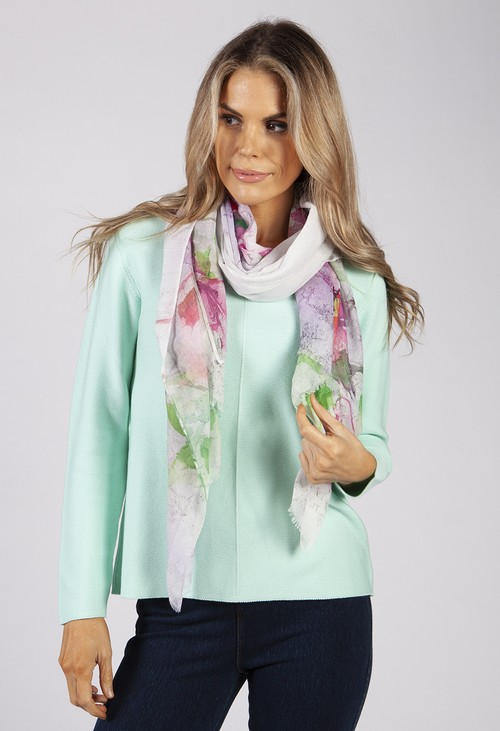 PS Accessories Fuchsia Floral Print Scarf